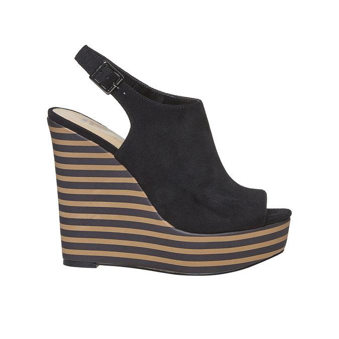 Sandale à plateforme rayée insolia, Noir, 769-6563 - 15