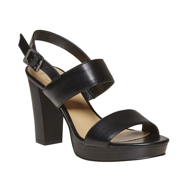 Sandale noire à talon massif insolia, Noir, 761-6727 - 13