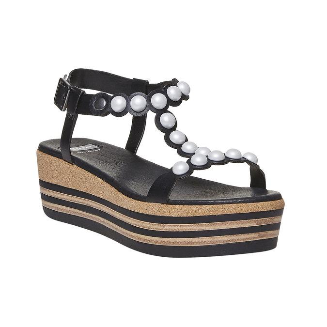 Sandale à plateforme rayée bata, Noir, 661-6237 - 13