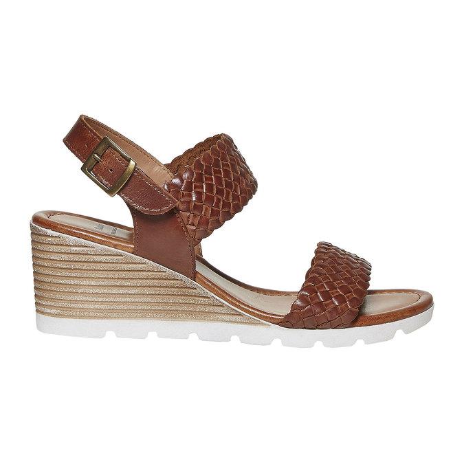 Sandale femme à plateforme effet bois bata, Brun, 764-3586 - 15