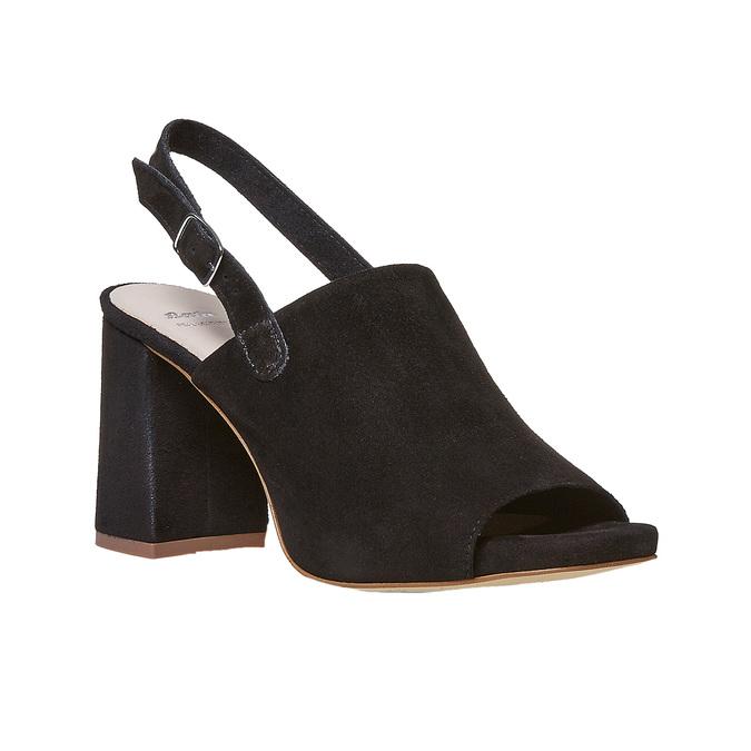 Sandale en cuir à talon stable bata, Noir, 763-6577 - 13