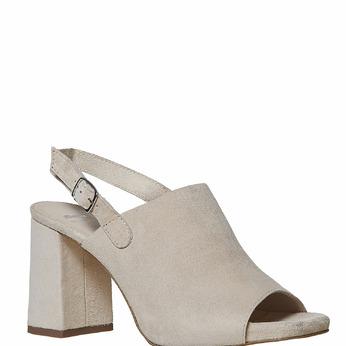 Sandale en cuir à talon massif bata, Jaune, 763-8577 - 13