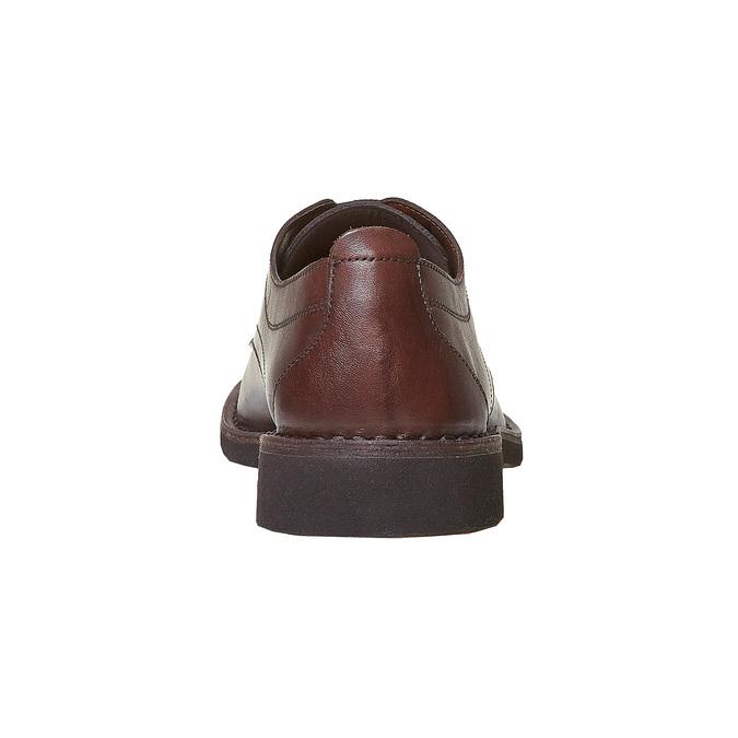 Chaussure lacée surpiquée en cuir marron bata, Brun, 854-4111 - 17
