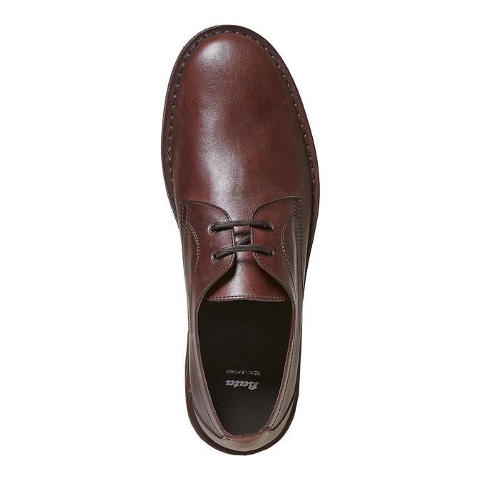 Chaussure lacée surpiquée en cuir marron bata, Brun, 854-4111 - 19