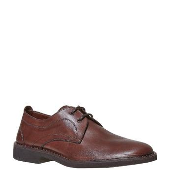 Chaussure lacée surpiquée en cuir marron bata, Brun, 854-4111 - 13