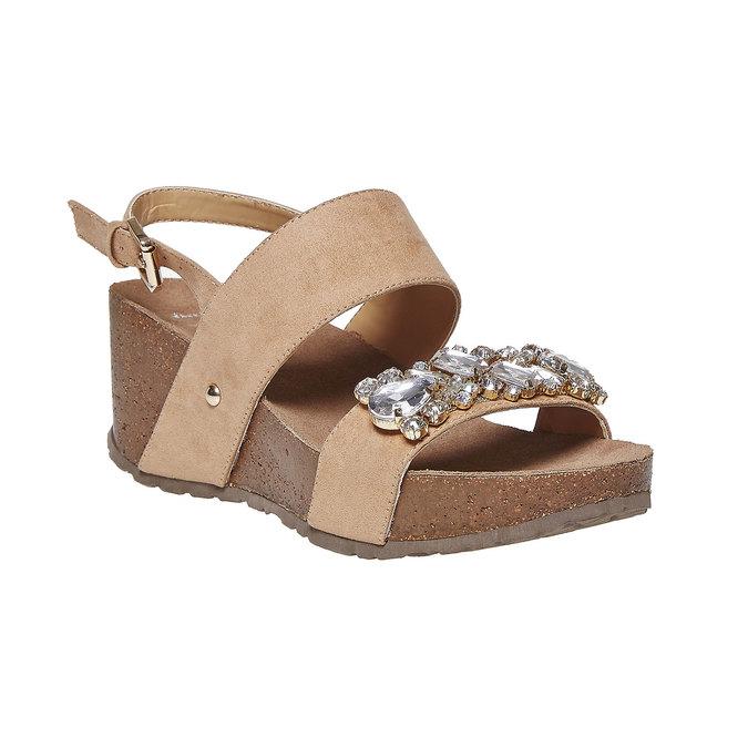 Sandale à plateforme avec petites pierres bata, Jaune, 669-8209 - 13