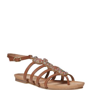 Sandale en cuir avec petites pierres bata, Brun, 564-3461 - 13
