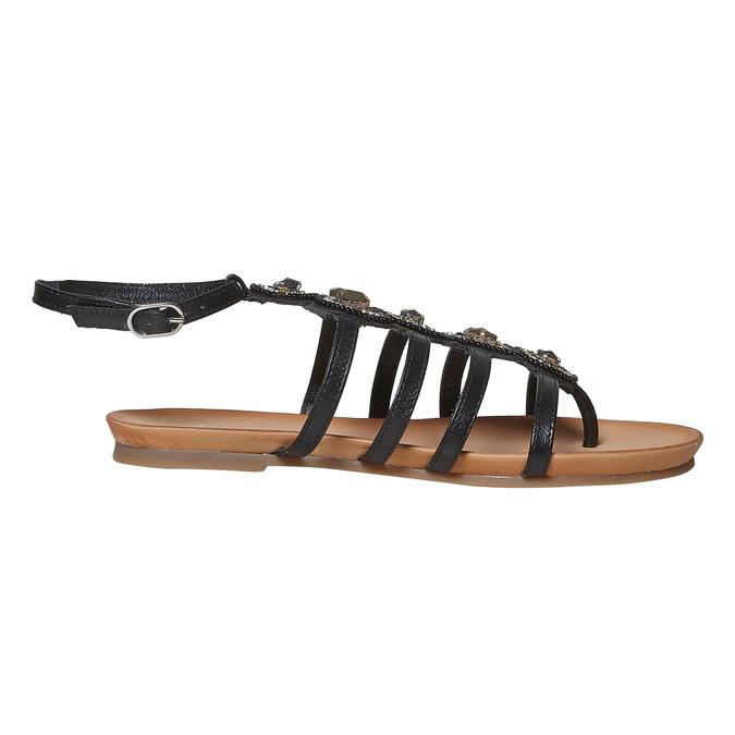 Sandale en cuir noir avec petites pierres bata, Noir, 564-6461 - 15