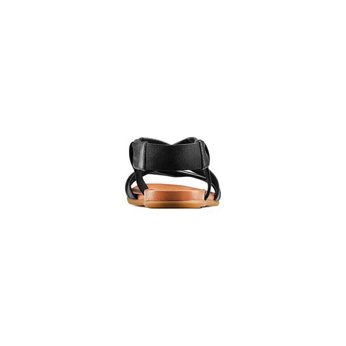 Sandale en cuir à arrière élastique bata, Noir, 564-6443 - 15