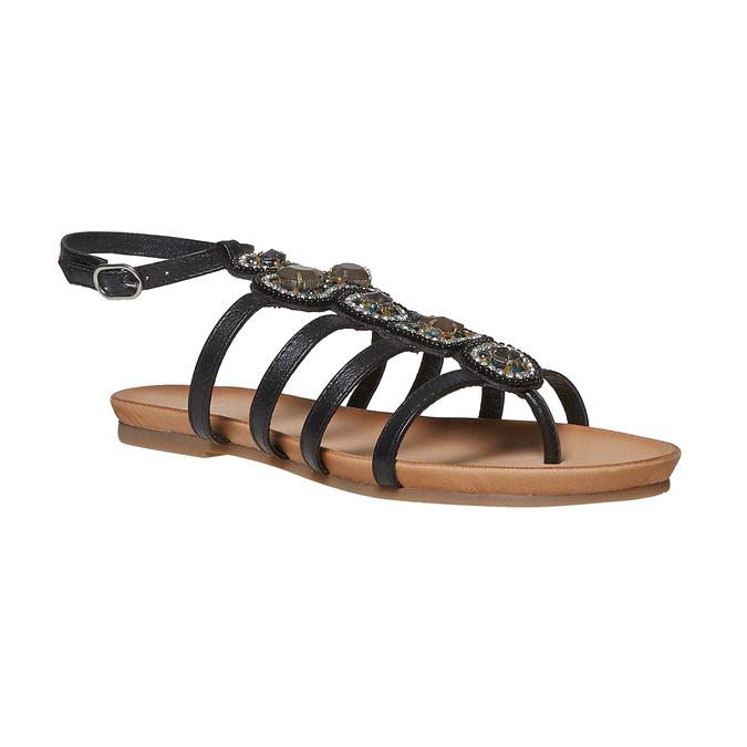 Sandale en cuir noir avec petites pierres bata, Noir, 564-6461 - 13