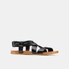 Sandale en cuir à arrière élastique bata, Noir, 564-6443 - 13