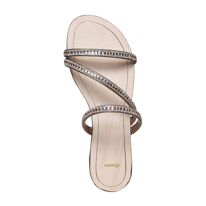 Sandale femme avec petites pierres bata, Jaune, 571-8169 - 19