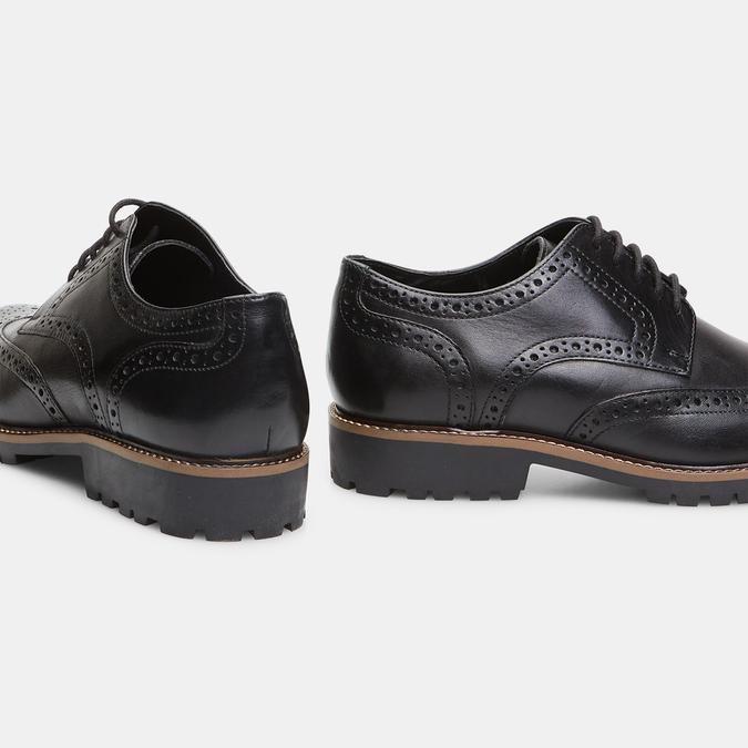 chaussures basses en cuir à surpiqûre brogue bata, Noir, 824-6133 - 16