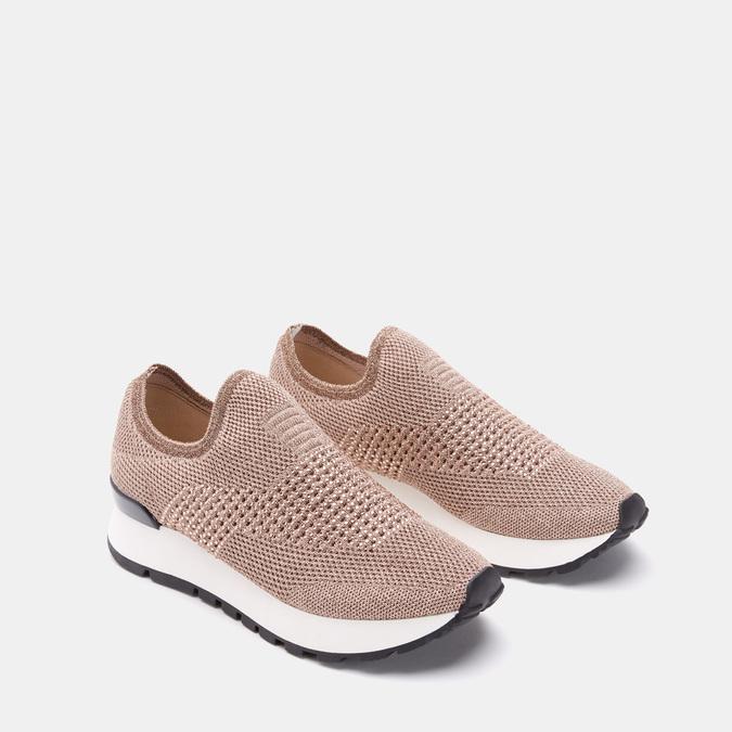 Chaussures slip-on à empeigne tricotée avec paillettes bata, Rose, 539-5143 - 16