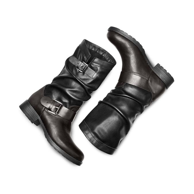 Bottes en cuir bata, Noir, 694-6548 - 26