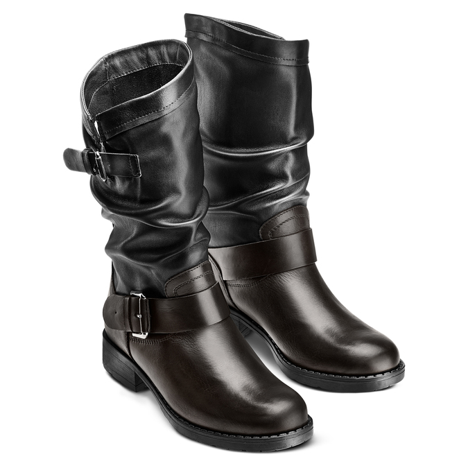 Bottes en cuir bata, Noir, 694-6548 - 16