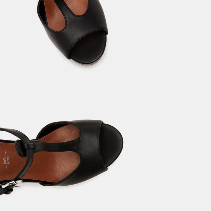 Sandales à talon large et à plateforme bata, Noir, 761-6881 - 19