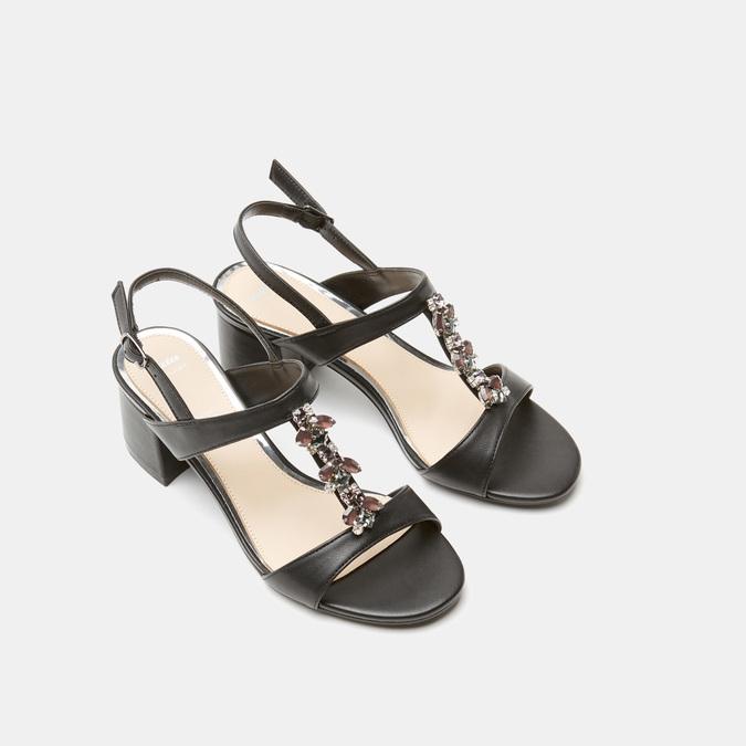 Sandales à talon large bata, Noir, 761-6856 - 19