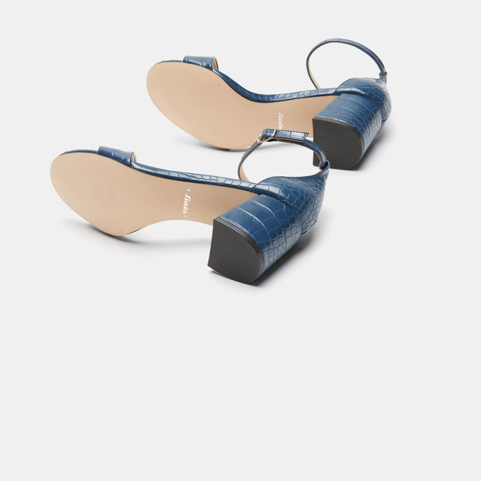 Sandales à talon large bata, Bleu, 761-9863 - 17