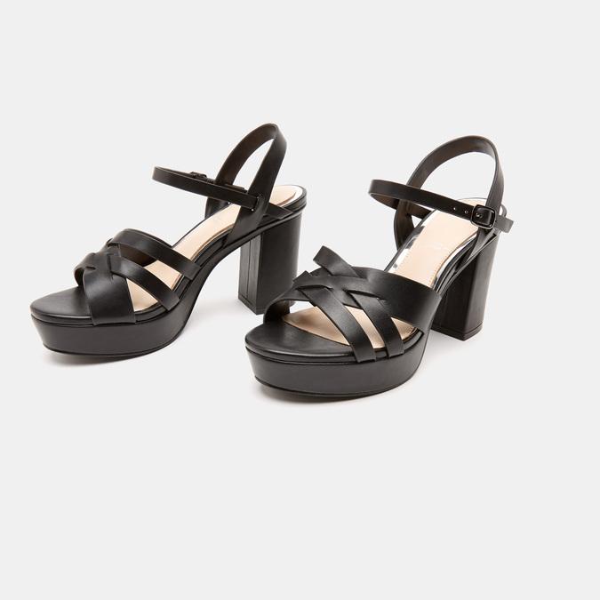 Sandales à talon large et à plateforme bata, Noir, 761-6890 - 16