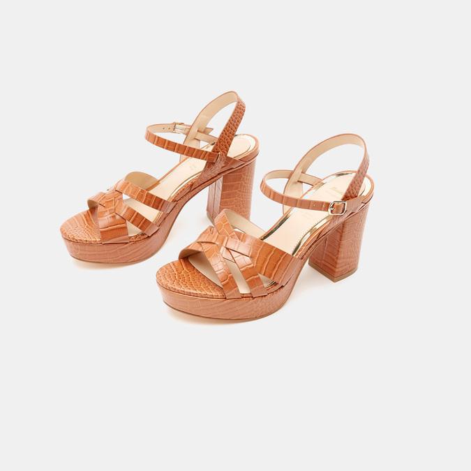 Sandales à talon large et à plateforme bata, Brun, 761-3890 - 16