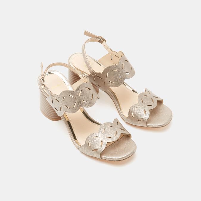 Sandales à talon large bata, bronze, 761-8860 - 19