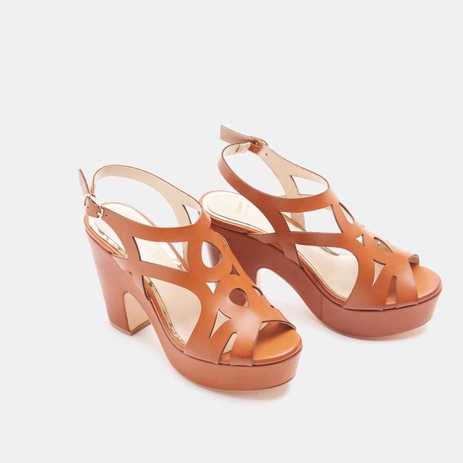 Sandales à talon large bata, Brun, 761-3850 - 26