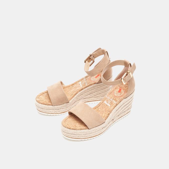 Sandales compensées bata, Beige, 769-8983 - 26
