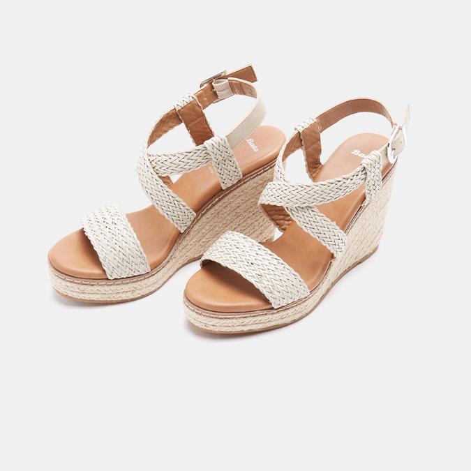 Sandales compensées bata, Blanc, 761-1961 - 26