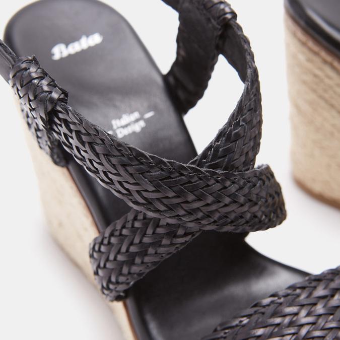 Sandales compensées bata, Noir, 761-6961 - 16