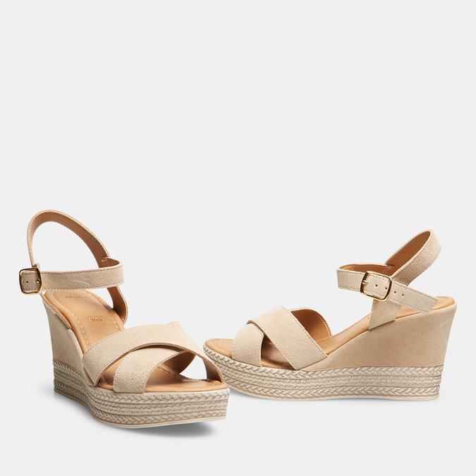 Sandales compensées bata, Beige, 763-8963 - 26