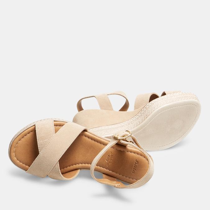 Sandales compensées bata, Beige, 763-8963 - 19
