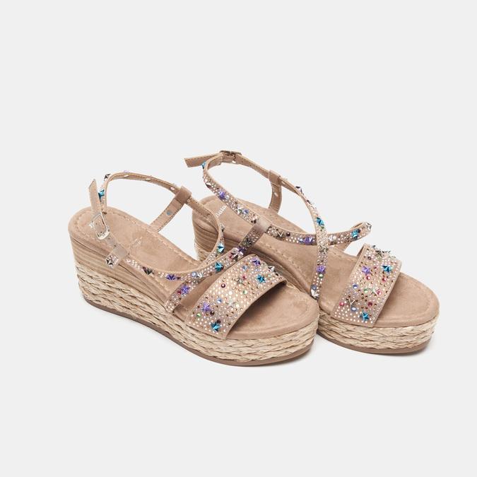 Sandales compensées bata, Jaune, 769-8951 - 26