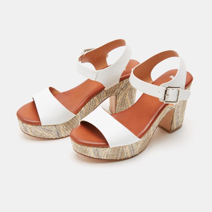 Sandales à talon large et à plateforme bata, Blanc, 761-1866 - 26