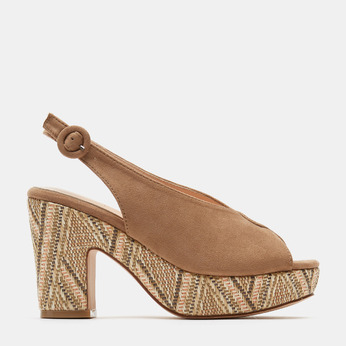 Sandales à talon large et à plateforme bata, Beige, 769-8865 - 13