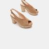 Sandales à talon large et à plateforme bata, Beige, 769-8865 - 16