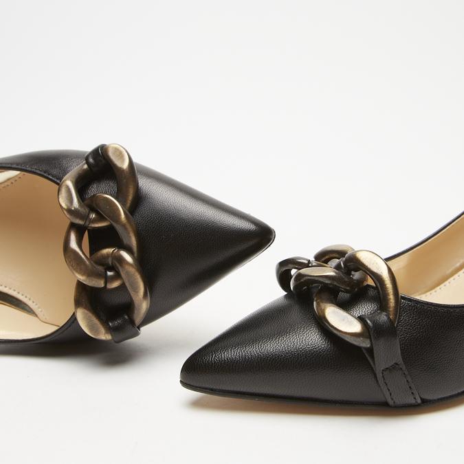 escarpins pointus en cuir bata, Noir, 624-6152 - 26