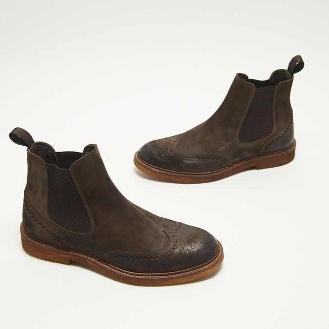 bottines chelsea à piqué brogue bata, Brun, 893-4807 - 16