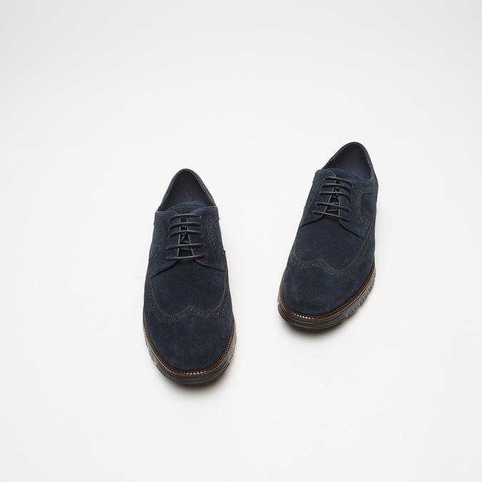 chaussures basses brogue en suède bata, Bleu, 823-9199 - 26