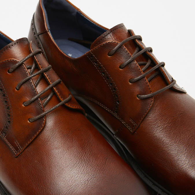 chaussures basses brogue en cuir bata, Brun, 824-3210 - 16