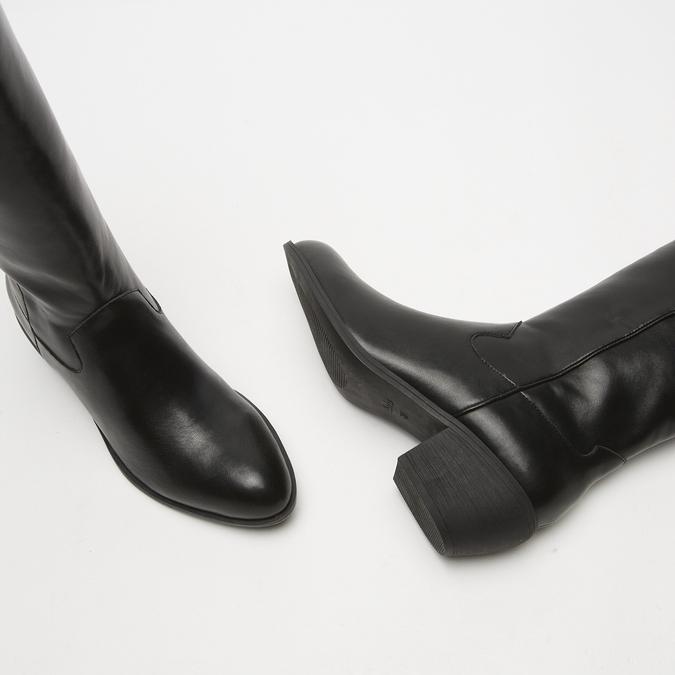 bottes de cow-boy en-dessous du genou à talons cubains bata, Noir, 791-6593 - 15