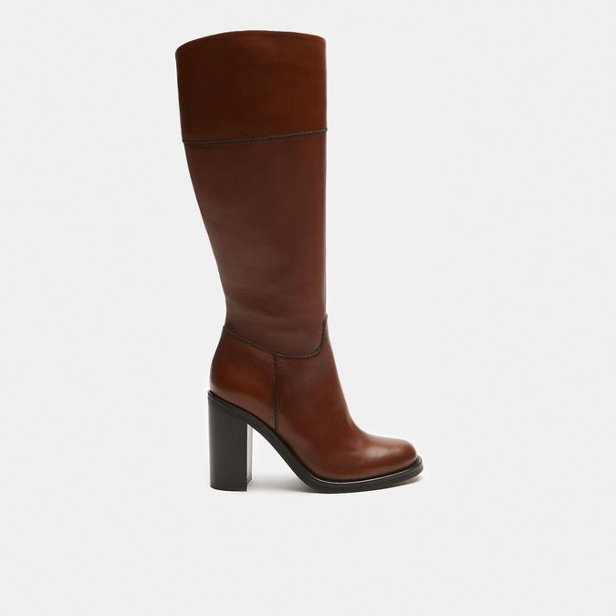 bottes en cuir en-dessous du genou à talons larges bata, Brun, 794-4464 - 13