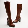 bottes en cuir en-dessous du genou à talons larges bata, Brun, 794-4464 - 16
