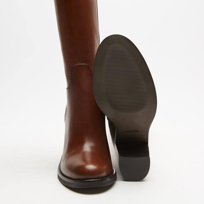 bottes en cuir en-dessous du genou à talons larges bata, Brun, 794-4464 - 19